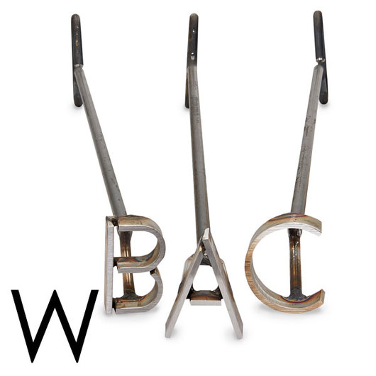 L & H Stainless Steel Branding Iron - 4 in. Single Letter W