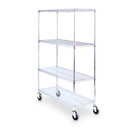 Lakeside Round Post Wire Shelving Cart with 18 x 36 Shelves