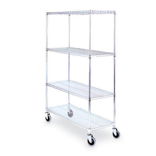 Lakeside Round Post Wire Shelving Cart with 24 in. x 36 in. Shelves