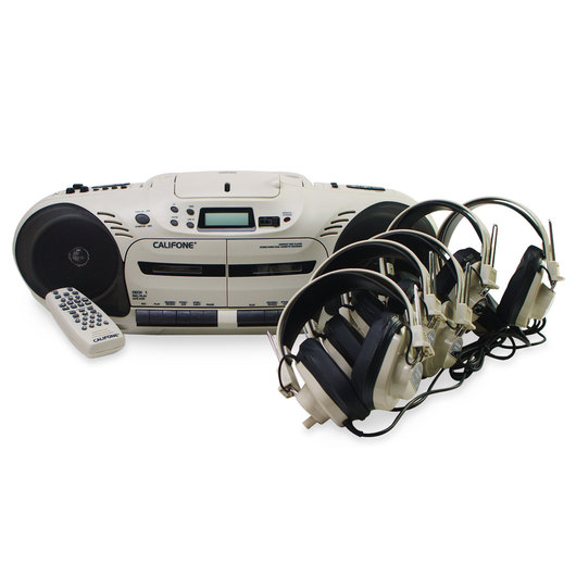 Califone® CD Player/Dual Cassette Recorder/AM-FM Radio Listening Center with Remote