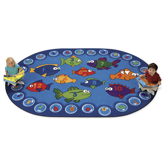 Fishing for Literacy Carpet - 6 ft. 9 in. x 9 ft. 5 in. Oval