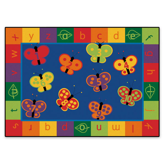 1-2-3, ABC Butterfly Fun Rug - Rectangle, 3 ft. 10 x 5 ft. 5
