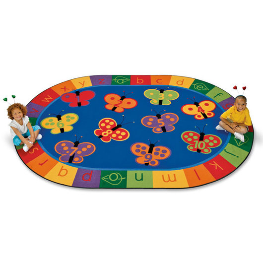 1-2-3, ABC Butterfly Fun Rug - Oval, 6 ft. 9 in. x 9 ft. 5 in.