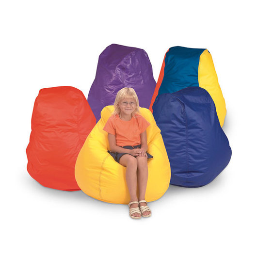 Brown Sales Child-Size Beanbag Chair, High-Back - Red