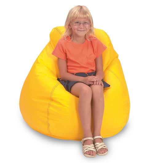 Brown Sales Child-Size Beanbag Chair, High-Back - Yellow