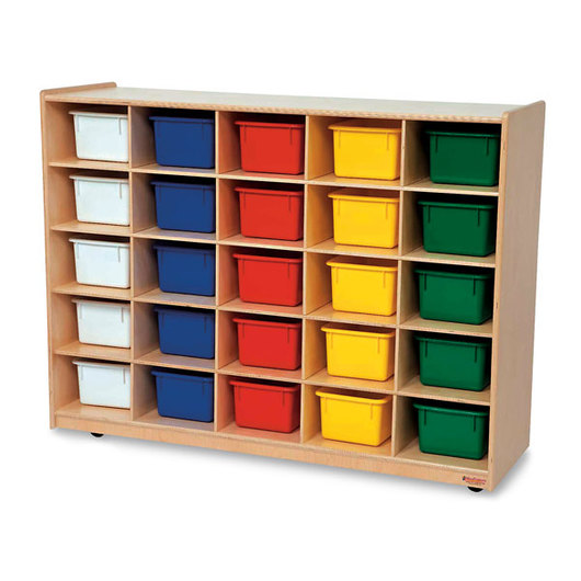 Mobile 25-Section Cubby Storage Unit with Assorted Color Trays