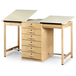 Diversified Woodcraft Large Two-Station Drawing Table with Six Drawers
