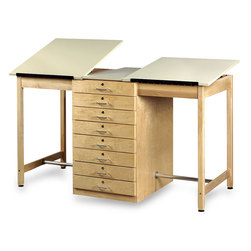 Large Two-Station Drawing Table with Eight Drawers