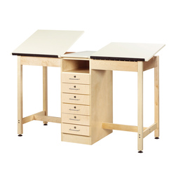 Small Two-Station Drawing Table with 6 Drawers