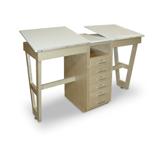 Hann Two-Station Drawing Table with Bookshelf and Drawer Storage