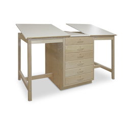 Hann Two-Station Drawing Table with Six-Drawer Storage