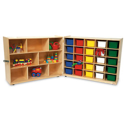 Folding Shelf and 25-Compartment Combination Storage Unit