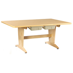 Diversified Woodcraft Pedestal Art Table with Tote Trays - 1-1/4 in. Natural Birch Plastic Laminate Top - 26 in. H