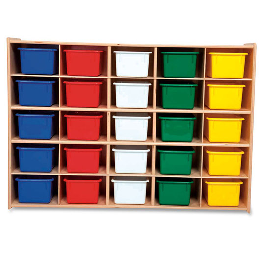 Contender™ 25-Section Storage Unit with Assorted Color Tote Bins - 12 D x 46-3/4 W x 33-7/8 H