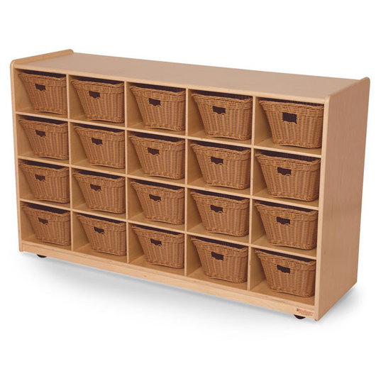Wood Designs™ 20-Section Mobile Storage Unit with Baskets