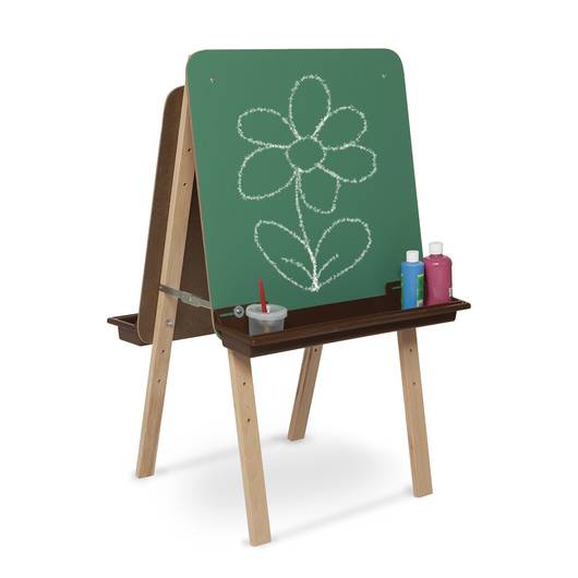Wood Designs™ Tot-Size Double Chalkboard Easel With Brown Trays