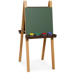 Wood Designs™ Double Adjustable Easel with Chalkboard Panels - Brown Trays