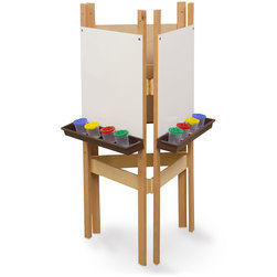 Wood Designs™ 3-Way Easel with Markerboard Panels - Brown Trays