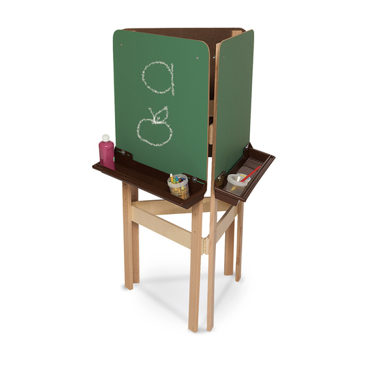 Wood Designs™ 3-Way Easel with Chalkboard Panels - Brown Trays