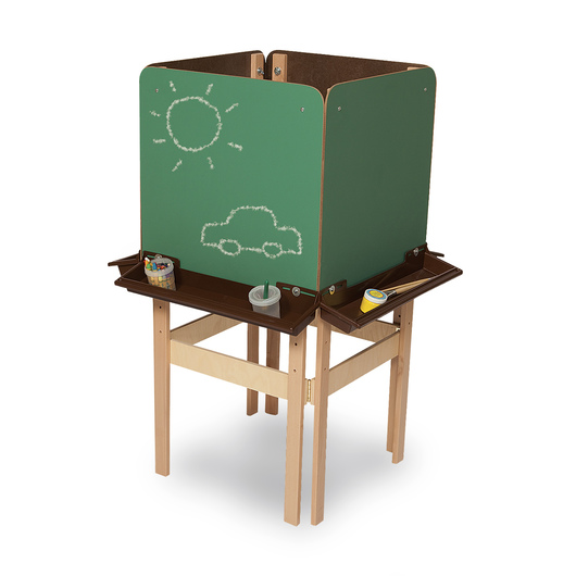 Wood Designs™ 4-Sided Easel with Chalkboard Panels - With Brown Trays