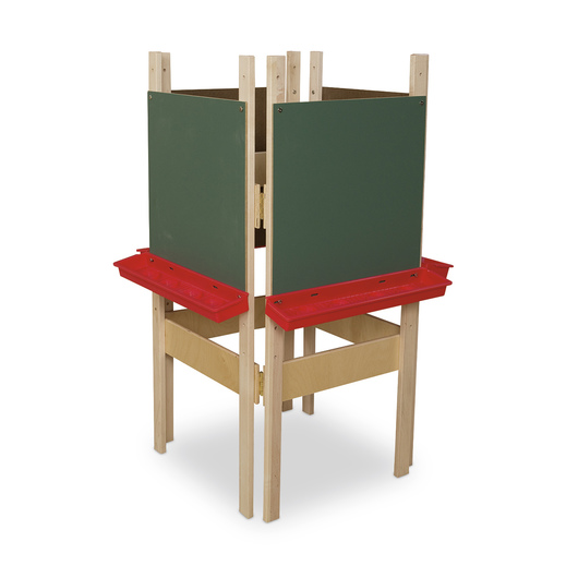 Wood Designs™ 4-Sided Easel with Chalkboard Panels - With Red Trays