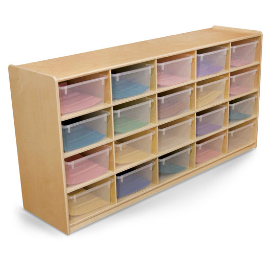 Letter Tray Storage Unit - 30 in. H - 20 compartments with translucent trays