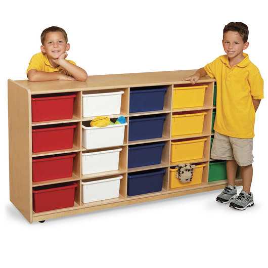 Letter Tray Storage Unit - 30 in. H - 20 compartments with assorted color trays