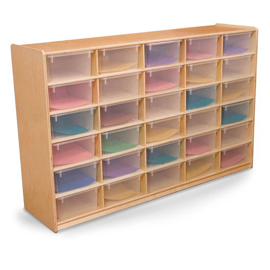 Letter Tray Storage Unit - 38 in. H, 30 compartments with translucent trays