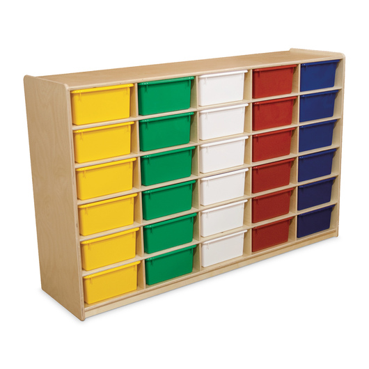 Letter Tray Storage Unit - 38 in. H - 30 compartments with assorted color trays