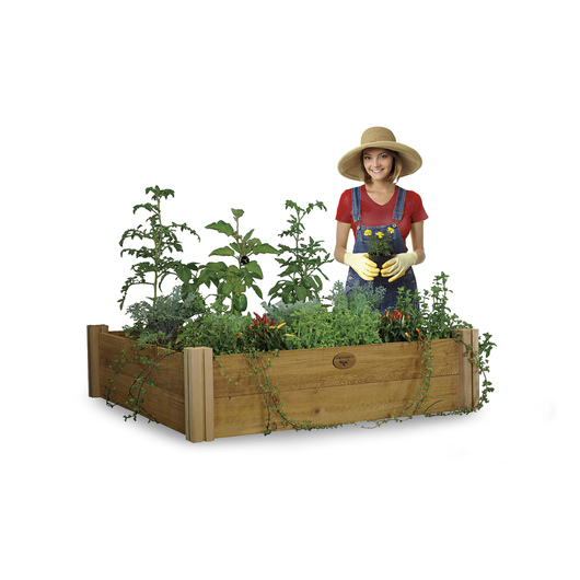 Gronomics® Modular Raised Garden Bed, Rustic, Unfinished - 48 in. W x 48 in. L x 13 in. H