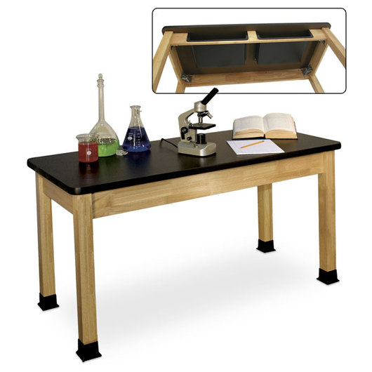 Allied Hardwood Chemsurf™ - Topped Science Table with Book Boxes, 24 x 48