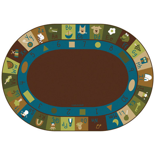 Nature's Colors Learning Blocks Carpet - Oval - 6 ft. x 9 ft.