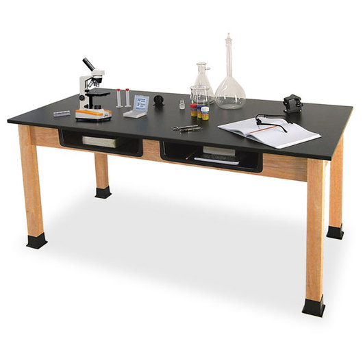 Allied Hardwood Phenolic-Topped Science Table with Book Boxes - 24 in. x 60 in.