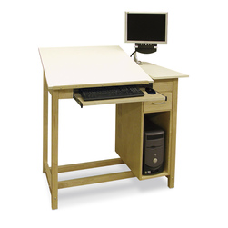 Hann CAD Drafting Table with CPU Cabinet and Tool Drawer - 30 in. x 42 in.