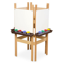 Wood Designs™ 4-Sided Easel with Markerboard Panels - With Red Trays