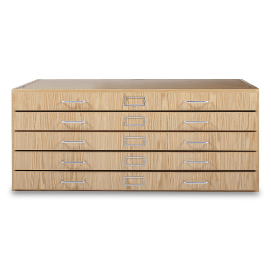 Stackable Flat File with Five Drawers - Oak - 40-1/2 in. W x 27 in. D x 17 in. H