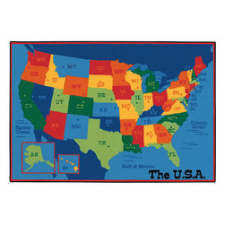 Kids Value Rugs™ 6 ft. x 9 ft., USA Map