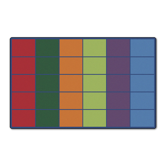 Colorful Rows Seating Rug for 30 Students - 8 ft. 4 in. x 13 ft. 4 in..