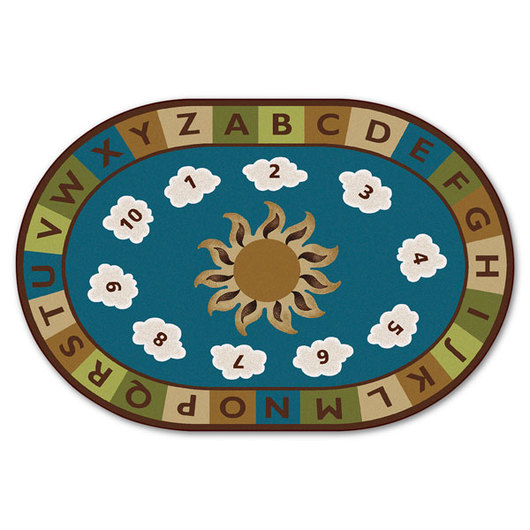 Natural Sunny Day Learn & Play Oval Rug - 6 ft. x 9 ft.