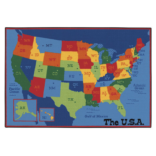 Kids Value Rugs™ - 4 ft. x 6 ft. - USA Map