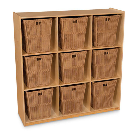Wood Designs™ Cubby Storage with Nine Large Baskets - Natural Shelves