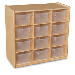 Wood Designs Cubby Storage Units with 12 Translucent Trays
