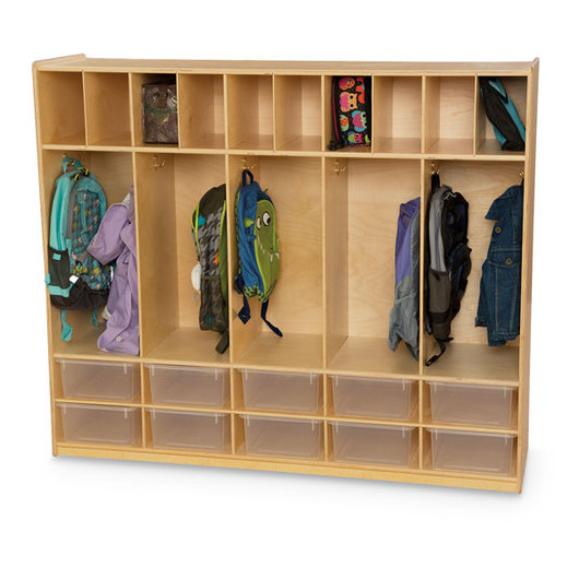 Wood Designs™ Locker and Communication Center (with 10 Translucent Trays)