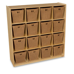 Wood Designs™ Cubby Storage with 16 Medium Baskets - Natural Shelves