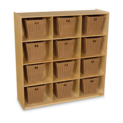 Wood Designs™ Cubby Storage with 12 Medium Baskets - Natural Shelves