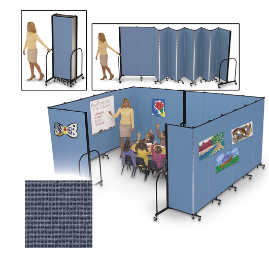 Screenflex® FREEstanding™ Portable 5 Panel Partition - 9 ft. 5 in. L x 6 ft. 8 in. H - Lake