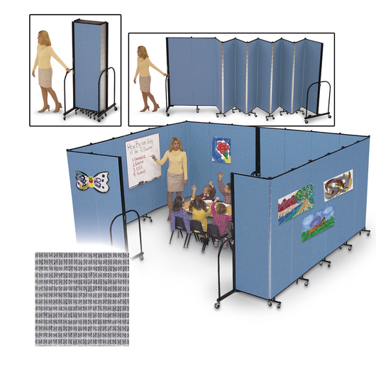 Screenflex® FREEstanding™ Portable 5 Panel Partition - 9 ft. 5 in. L x 6 ft. 8 in. H - Stone