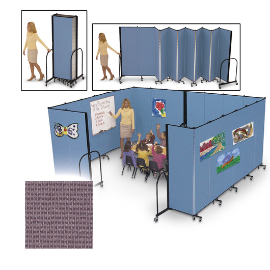 Screenflex® FREEstanding™ Portable 5 Panel Partition - 9 ft. 5 in. L x 6 ft. 8 in. H - Rose