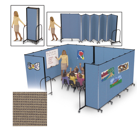 Screenflex® FREEstanding™ Portable 5 Panel Partition - 9 ft. 5 in. L x 6 ft. 8 in. H - Walnut