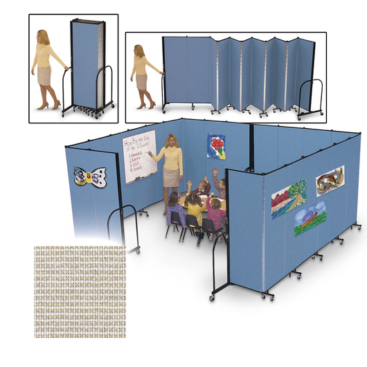 Screenflex® FREEstanding™ Portable 5 Panel Partition - 9 ft. 5 in. L x 6 ft. 8 in. H - Desert